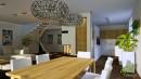 celkový phled na obývací pokoj a kuchyňskou linku