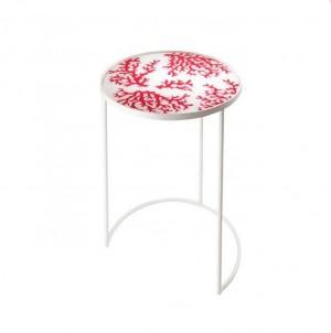 Odkládací stolek kulatý  ohnivý korál č.1