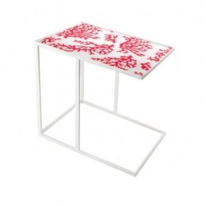 Obdélníkový  odkládací stolek ohnivý korál č.1