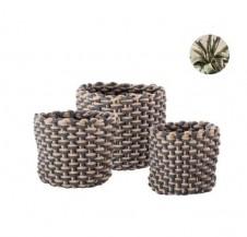 Set tří pletených úložných košů