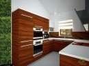 Onyxová kuchyně v kombinaci s bílou. Denní pohled.