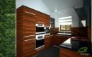 Onyxová kuchyně v kombinaci s černou. Denní pohled.