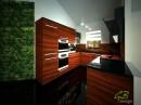 Onyxová kuchyně v kombinaci s černou.Celkový pohled.